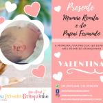 Primeiro brinquinho, presente da Mamãe Renata e do Papai Fernando para Valentina.